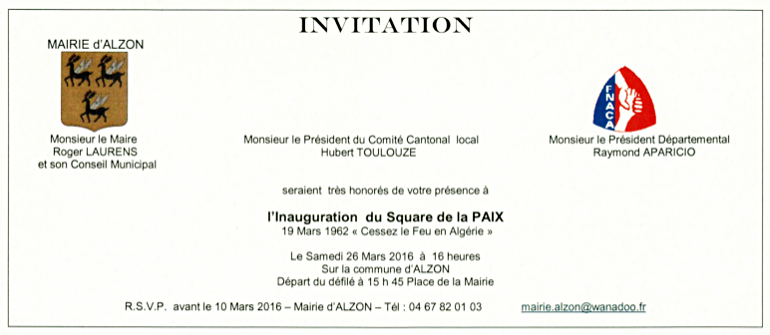 Inauguration Du Square De La Paix Mairie D Alzon